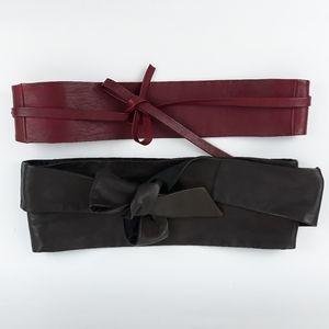 """2 Obi Cinch Leather Belts Women 3"""" + 5"""" ECU"""